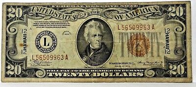 1934 $20 Dollar Bill Wwii Hawaii Brown Seal Note Currency Paper Money