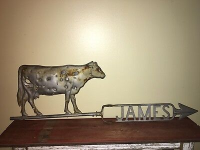 Antique circa-1900, JAMES Weathervane American Folk Art Cow Lightning Rod