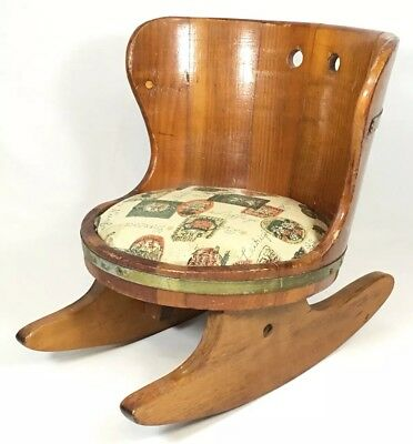 Antique Wood Barrel Rocking Chair Rocker Bucket Seat Cushion Child Doll Bear VTG