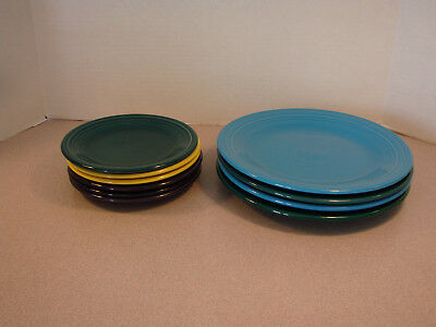 """Lot of Varied Fiestaware 4 10.5"""" dinner plates and 6 7.25"""" plates"""
