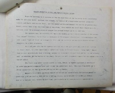 Original 15 Page Accounting Report Issued by Edsel Division Of Ford Ca 1958