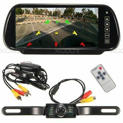 "7"" Rear View Mirror Monitor + Wireless 7 IR Backup Camera For Truck Auto Set"