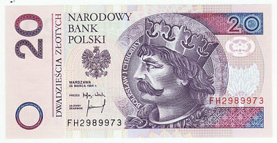 1994 Poland 20 Zlotych Bank Note Crisp UNC