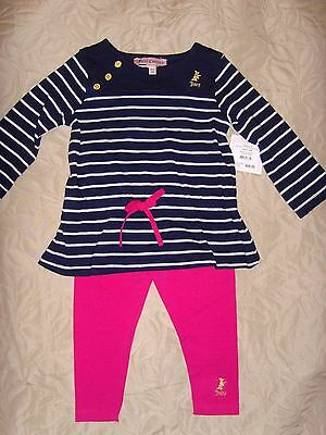 New Juicy Couture Infant Baby Girl striped tunic top pink legging set 3-6M