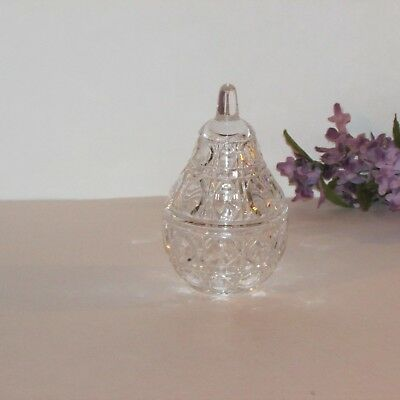 "Pretty Crystal Trinket Box Pear Shaped Ring Jewelry Holder 4 1/2"" Decorative"