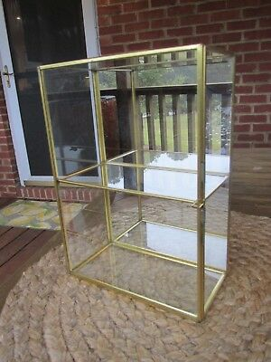 Vintage Glass, Brass And Mirror Display Case Table Top Or Hanging