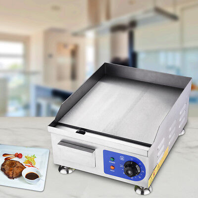 """Commercial 1500W 14"""" Electric Countertop Griddle Stainless Steel Adjustable Temp"""