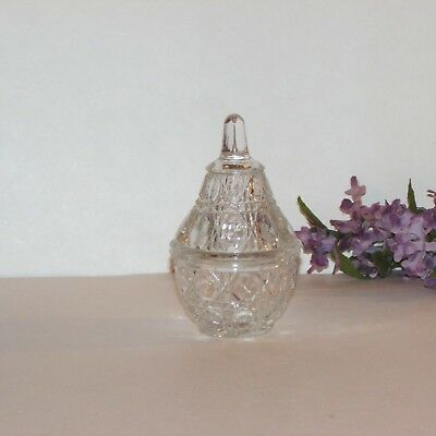 "Pretty Clear Glass Trinket Box Pear Shaped Ring Jewelry Holder 4 1/2"" Decorative"