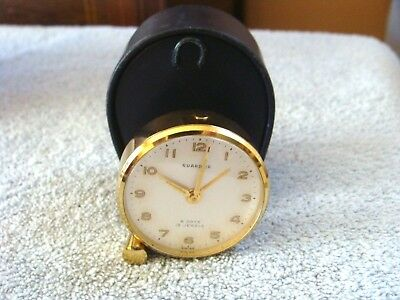 Vintage Guardier Travel Alarm Clock 15 Swiss Jewel 8-Day Movement & Case Works