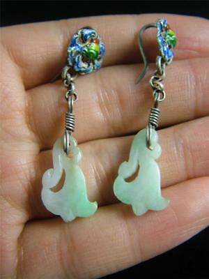 A Pair of Antique Old Chinese Genuine Jadeite Earrings Silver Blue Hook Open Wor