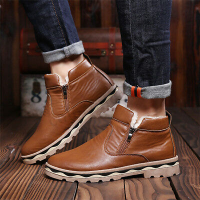 UK Men Winter Warm Plush Fur Lined Snow Boots Casual Thermal Flat Ankle Shoes 1
