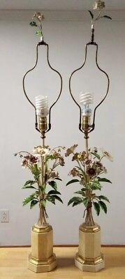 Vintage Pair of Exceptional Italian Tole Dresden Bouquet Lamps Hollywood Regency