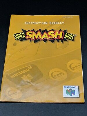 Super Smash Bros. Brothers 1 Instruction Manual Nintendo 64 EXMT condition