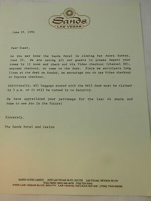The Sands Hotel & Casino Closing going out of Business Letter to Guest June 1996