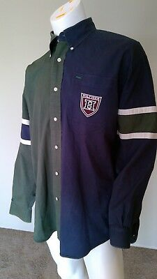 Tommy Hilfiger Vtg 90's Button Down Shirt Two Tone Spell Out Sz Large L