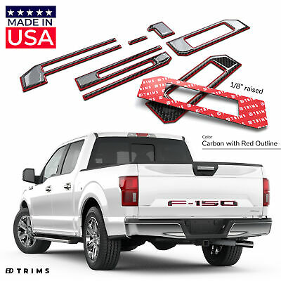 Domed Red w/Black Carbon Tailgate Letters For Ford F-150 2018 2019 Raised Insert