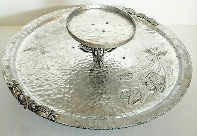 Hand Wrought RODNEY KENT Hammered Aluminum Tulip Lazy Susan Serving & Dip Tray