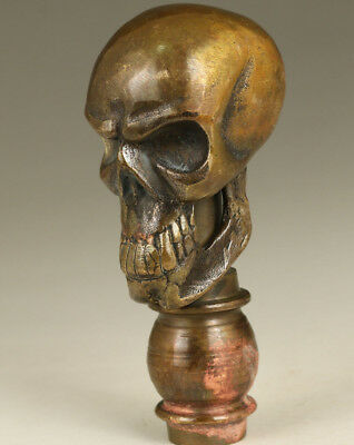 Old Bronze Hand Carved Skull Statue Walking stick head cool gift