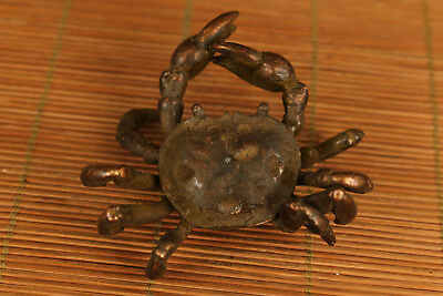 Chinese Old Boxwood Handmade Statue crab tea pot lid stand tea tray decoration