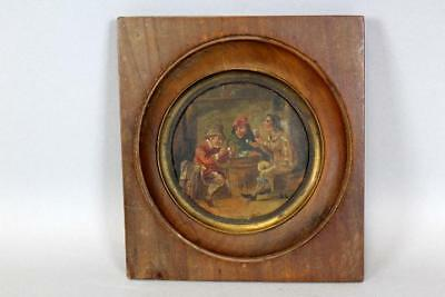 A Rare 18Th C Miniature Dutch Oil/copper Painting Of A Tavern Scene Great Detail