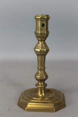 Rare Early 18Th C French Brass Candlestick  Baluster Form Great Shaped Base