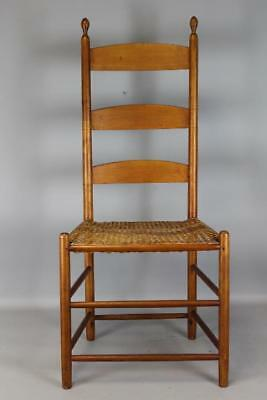 """Rare 19Th C Canterbury, Nh Shaker 3 Slat """"tilter""""  Sidechair In Old Surface"""