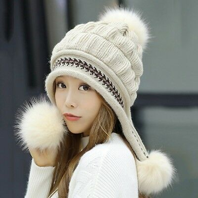 Woman Knitting Hat Pom Poms Ball Beanie Caps Hat Hanging Two Fur Balls Warm  Hat 61b7c463cfb9