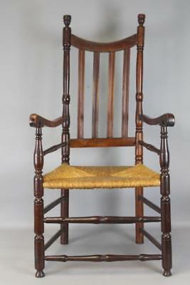 Rare 18Th C Ct Heart&  Crown School Bannister Back Armchair In Old Surface