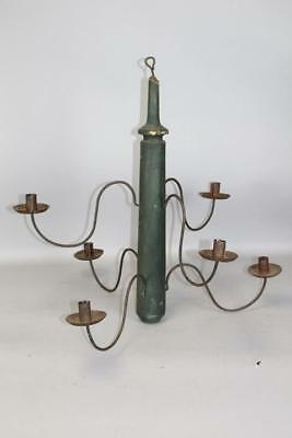 Rare 18Th-19Th C Wood & Tin Hanging Six Candle Chandelier Best Dark Green Paint