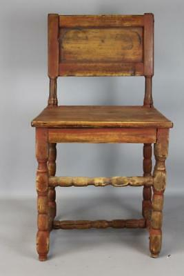 Rare 17Th C American Pilgrim Period Wainscot Joined Chair Panel Back Dated 1696