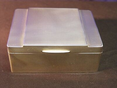 Antique English Art Deco 1957 Solid Sterling Silver Cigarette Box