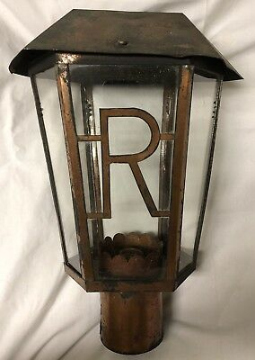 "Antique 1930s vintage Copper solder ""R"" Electric Lamp Post Outdoor Light Fixture"