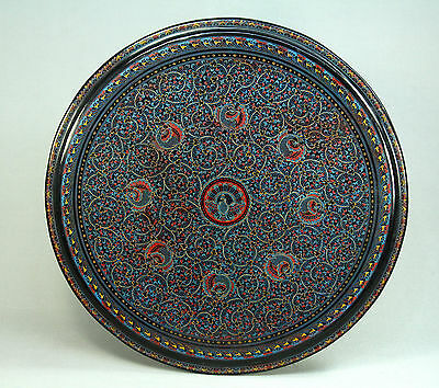 *FINE Hand Painted Black Lacquered Wood Southeast Asian Table Top Lacquerware