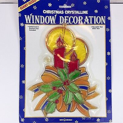 Vintage Christmas Candle Stained Glass Window Hanging Suncatcher Decor Holiday