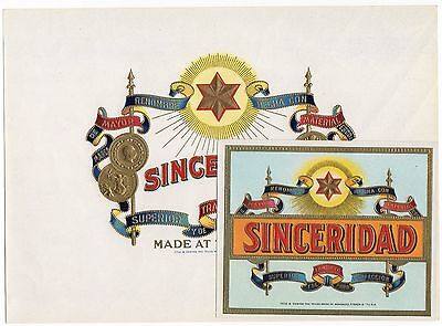 Cigar Box Label Vintage Set C1920S Sinceridad Inner Outer Embossed Tampa Florida