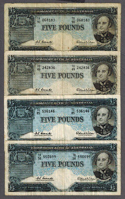 4x Commonwealth of Australia 1960 Coombs/Wilson Five Pounds Banknotes R50