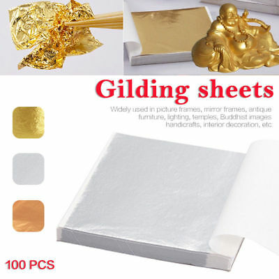 100sheets Gold/Silver/Copper Foil Leaf Paper Food Decor Edible Gilding Craft New