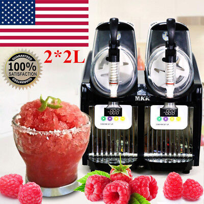 2*2L 2 Tank Frozen Drink Slush Slushy Making Machine Juice Smoothie Ice Maker US