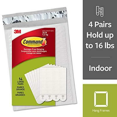 Command Damage-Free Large Picture Hanging Strips, White, 4 pairs hold 16 pounds,