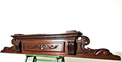 Architectural scroll leaves pediment Antique hand carved wood salvaged crest