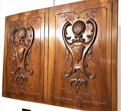 PAIR GOTHIC SCROLL LEAVES PANEL Antique french hand carved wood salvaged plaque