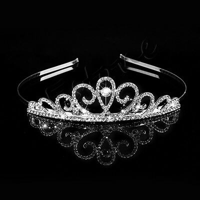 Hot Wedding Bridal Princess Crystal Tiara Hair Prom Crown Veil Headband