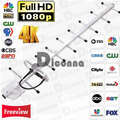 200Miles DTV 1080P Digital TV Aerial 9 Element HD Freeview loft /outdoor antenna