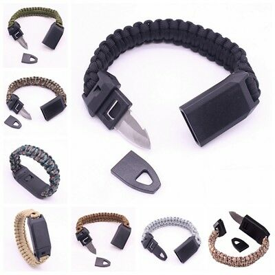 Outdoor Camping 3-in-1 Braided Paracord Armband Pfeife Stahl Messer Handschlaufe