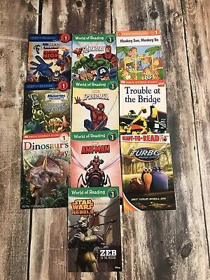 Lot of 10 World of Reading   Step Into Reading Level 1 mixed Lot of books