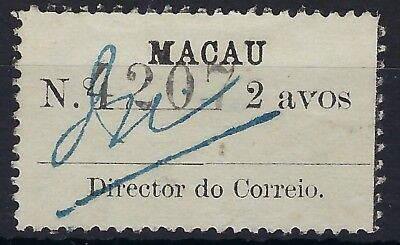 Macau 1911 2a white label, wove paper unused