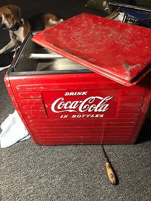 Coca Cola Cooler Made by Action Mfg. Co. Drink Coca Cola In Bottles 1950s