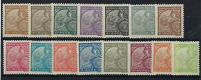 Macau 1934 definitive short set to 30a hinged mint