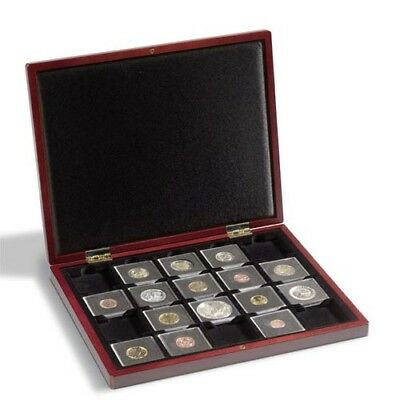 Wooden Coin Presentation Casewith 20 square blank fields, 50 x 50 mm for QUADRUM
