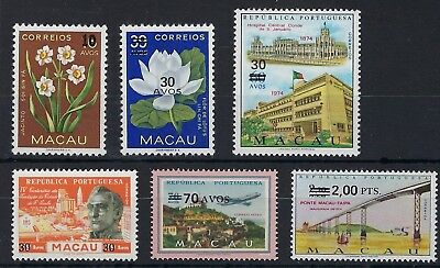 Macau 1979-80 surcharge set of 6 mint never hinged